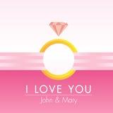 Pinky вектор поздравительной открытки сердца Иллюстрация вектора