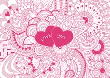 Pinky флористическое blackground с 2 сердцами говорит влюбленность вы для предпосылки также вектор иллюстрации притяжки corel Стоковые Изображения
