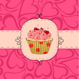 Pinky. Pink card with cupcake. Seamless hearts pattern in the background Stock Photography