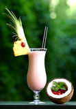 Pinky cocktail. Cocktail with blurry green background, beautifully arranged with piece of freshly cut pineapple a coconut half filed with cherries and a mint Royalty Free Stock Image