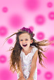 Pinky happy shouting girl. With floating hair Stock Images