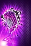 Pinky Karaoke Design. Karaoke Music Theme. Cool Pinky-Violet Background with Light Rays, Flames and Floral Ornaments and Cool Silver Retro Style Microphone Royalty Free Stock Photos