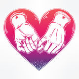 Pinky promise, hand holding. Trendy vector art Royalty Free Stock Photography