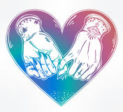 Pinky promise, hand holding. Trendy vector art Stock Photography