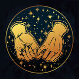 Pinky promise, hand holding. Trendy vector art Royalty Free Stock Photo
