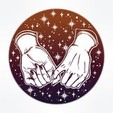 Pinky promise, hand holding. Trendy vector art Royalty Free Stock Photos