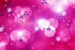 Pinky - Purple Christmas Background with Ornaments. Pink Christmas. Pinky Beautiful Seasonal - Christmas Theme. Great Bokeh and Christmas Ornaments Holidays Stock Photography