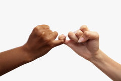 Pinky swear. Heart shaped hand gesture, usual gesture in several countries to have a deal Royalty Free Stock Images