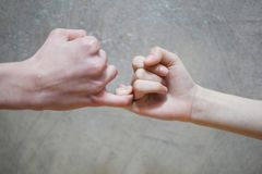Pinky swear handshake of teenage brother and sister stock image