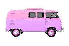 Pinky Vintage Camper Isolated Royalty-vrije Stock Fotografie