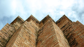 Pinnacle building with bricks. Royalty Free Stock Images