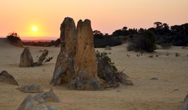 Pinnacle Desert Landscape and Orange Sunset, Western Australia Royalty Free Stock Image