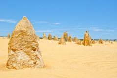 Pinnacle Desert at Nambung NP Western Australia. Pinnacles, Western Australia.It has been said that a long time ago there has been a forrest which was buried in Royalty Free Stock Images