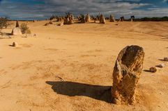Pinnacle desert in the North of Perth, Nambung, Western Australia. During June of 2016, I shot this photo during a trip in Australia. This is a beautiful and Royalty Free Stock Photography