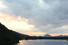 Pinnacle mountain from Two Rivers Park bridge. Located at the confluence of the Arkansas and Little Maumelle Rivers at Little Rock, Arkansas royalty free stock photos