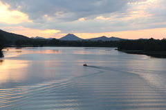 Pinnacle mountain from Two Rivers Park bridge Stock Photos