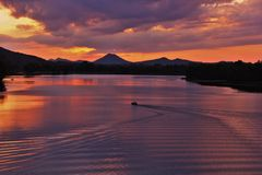 Pinnacle mountain from Two Rivers Park bridge. Located at the confluence of the Arkansas and Little Maumelle Rivers at Little Rock, Arkansas royalty free stock photography