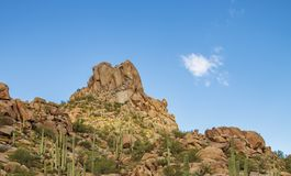 Pinnacle Peak mountain in North Scottsdale Arizona. Pinnacle Peak mountain amd hiking trail in North Scottsdale Arizona stock photography