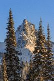 Pinnacle Peak in Winter, Washington State Stock Image