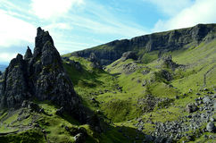 Pinnacle Rock  Formation in Skye Scotland. Pinnacle rock formation on the Isle of Skye in Trotternish Scotland Stock Photos