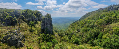 Pinnacle Rock, Mpumalanga, South Africa. The Pinnacle Rock, a tower-like freestanding quartzite buttress which rises 30 m above the dense indigenous forest in royalty free stock photography