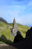 Pinnacle Rock on Skye. Towering pinnacle rock on the Isle of Skye in Scotland Stock Image