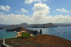 Pinnacle Rock and Sullivan Bay, Galapagos stock photography