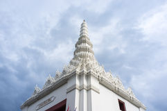 The pinnacle of white pagoda in a temple in Bangkok, Thailand Royalty Free Stock Photography