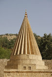 Pinnacle of a Yezidi temple in Lalish, Iraq. Yezidi temple in Lalish, a holy village situated in North Iraq (Iraqi Kurdistan Stock Photo