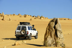 Pinnacles. Four wheel drive car in the Pinnacles desert Stock Image