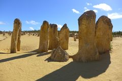 The pinnacles in Cervantes. Tamala limestone in Australia Stock Photos
