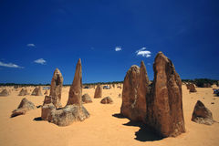 Pinnacles Desert. Natural limestone formations commonly known as the Pinnacles,Nambung National Park,Western Australia Stock Images