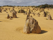 Pinnacles desert. Beauty of rock formations in Pinnacle desert. Nambung National Park, Pinnacles desert, Western Australia stock photography