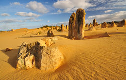 Pinnacles Desert Blue sky and Clouds. The Pinnacles Desert, Western Australia stock images