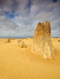 The Pinnacles Desert dramatic Weather, Cervantes. Pillars of limestone Pinnacles in The Pinnacles Desert, Western Australia stock image