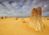 The Pinnacles Desert dramatic Weather, Cervantes. Pillars of limestone Pinnacles in The Pinnacles Desert, Western Australia stock photography