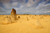 The Pinnacles Desert dramatic Weather, Cervantes Stock Image