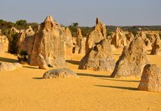 Pinnacles Desert Landscape near Cervantes, Western Australia Royalty Free Stock Images