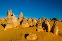 Pinnacles Desert at Nambung National Park, Western Australia, Au. Lunar lanscape of the Pinnacles Desert at Nambung National Park, Western Australia, Australia Stock Images