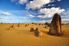 Pinnacles desert on a sunny day, Western Australia. Pinnacles desert under cloud and blue sky stock photo