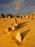 The Pinnacles Desert under Sunset light Royalty Free Stock Photography