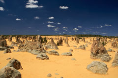 Pinnacles Desert,Western Australia. Natural limestone formations commonly known as the Pinnacles,Nambung National Park,Western Australia Royalty Free Stock Images