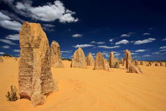 Pinnacles Desert,Western Australia. Natural limestone formations commonly known as the Pinnacles,Nambung National Park,Australia Royalty Free Stock Photos