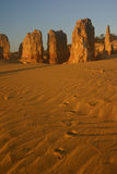 Pinnacles and footsteps, Cervantes, Western Austra Royalty Free Stock Image