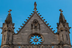 Pinnacles and frieze of the gothic cathedral in Leon Stock Photos