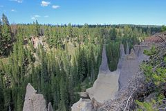 Pinnacles, geological feature in Crater Lake National Park, Oregon. USA royalty free stock image