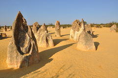 Pinnacles Limestone Formations. In Nambung National Park near Cervantes, Western Australia.  They are uniquely naturally sculptured limestone rocks from the Royalty Free Stock Photography