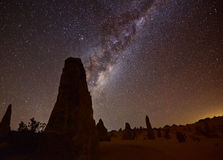 Pinnacles Milky Way. Milky way at the Pinnacles Nation Park, Western Australia Stock Images