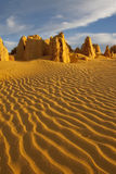 The Pinnacles of the Nambung National Park, Wester. A close up shot of The Pinnacles of the Nambung National Park, Western Australia, showing ripples in the sand Royalty Free Stock Image