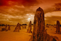 The Pinnacles in the Nambung National Park, Western Australia. Sunrise   Nambung National Park, Western Australia Royalty Free Stock Photography